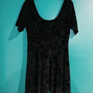 SIDECA black velvet skater dress